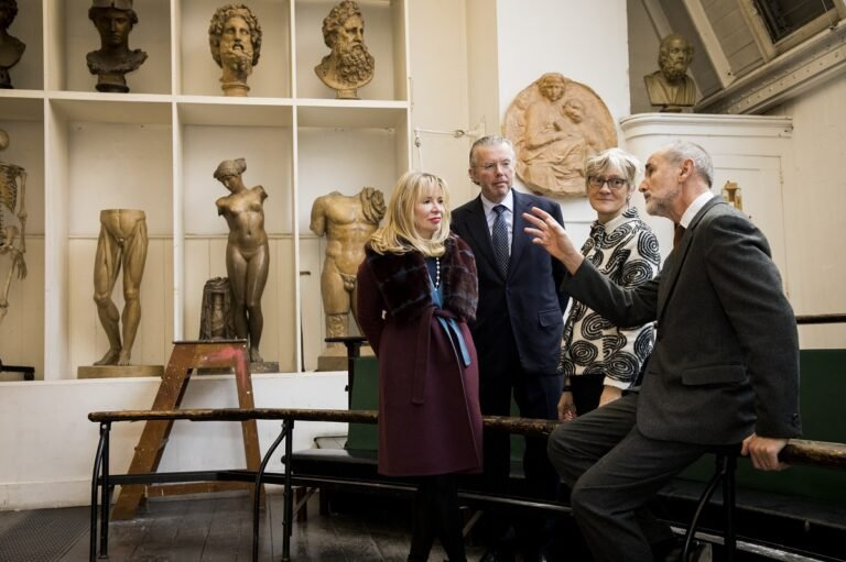Hans and Julia Rausing at the unveiling of their £10m grant to renovate the Royal Academy Schools, February 2019